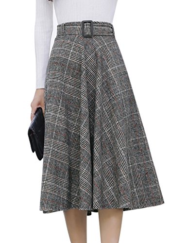 (Tanming Women's Elastic Waist Belted Wool Blend Check Plaid Midi Skirt (X-Small, Orange))