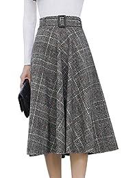 Women's Elastic Waist Belted Wool Blend Check Plaid Midi...