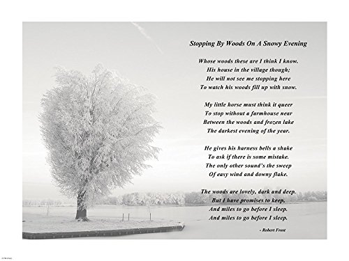 Stopping by Woods On A Snowy Evening Art Print, 19 x 14 inches
