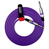 QOOKR 10ft Male to Male Straight 1/4'' TS Color Instrument Cable for Electric Guitar,Bass,Keyboard(10 Feet,Purple)