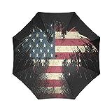 US American Flag Bald Eagle Compact Foldable Rainproof Windproof Travel Umbrella