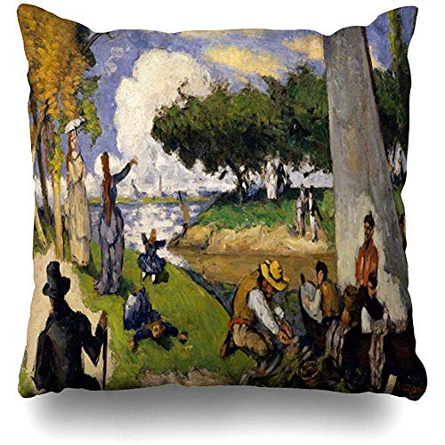 Throw Pillow Case Green Blue Fishermen by Paul Cezanne French 15 20 Figures Orange 19Th Century Black Bright Children Home Decor Zippered Cushion Cover Square Size 18