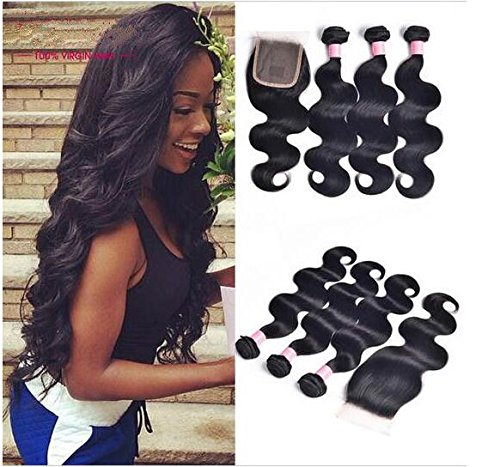 A2ZWIG 9A Unprocessed Brazilian Virgin Body Wave Remy Human Hair Extensions Weaves Wefts 3 Bundles 300 Grams with Closure (16 18 20 Inch with 14 Inch)