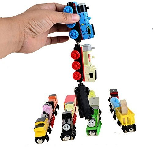 heya 5pcs/lot Wooden Magnetic Thomas Circus Train Donald Lady Gordon and Friends Lorry Track Railway Vehicles Diecast Toy Multiple types, random (Lady Train)