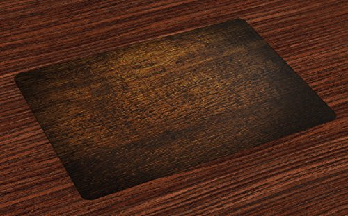 Ambesonne Wooden Place Mats Set of 4, Old Vintage Antique Timber Oak Background Rustic Floor Artisan Photo Print, Washable Fabric Placemats for Dining Table, Standard Size, Chestnut Brown