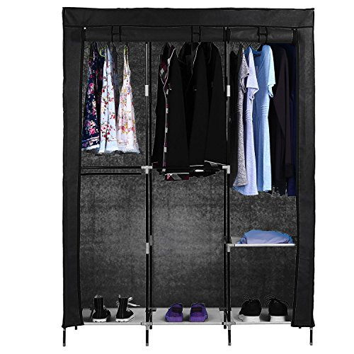 Utheing Portable Canvas Clothes Wardrobe, Heavy Duty 2 Doors Large Capacity Double Rod Closet Storage Organizer, 6 Shelves and Shoe Shelf (Black) by Utheing