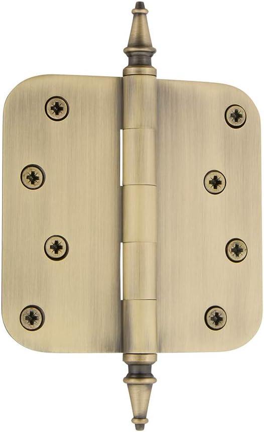 Polished Brass Nostalgic Warehouse 746087 4 Steeple Tip Residential 5//8 Radius Corners Door Hinge