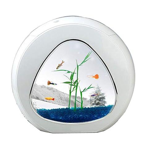 JIANGU Acuario – Mini pecera de Cristal de Escritorio, lámpara de Mesa pequeña, Calendario
