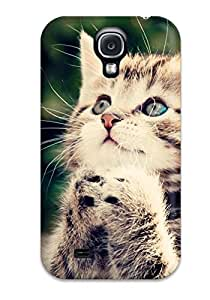 Galaxy S4 Hard Back With Bumper Silicone Gel Tpu Case Cover Cute Kitten Praying