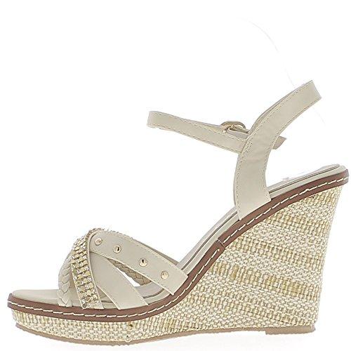 Beige cuña sandalias de tacón de 10.5 cm y la plataforma con diamantes de imitación