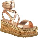 Fashion Thirsty Womens Flatform Cork Espadrille Wedge Sandals Ankle Lace Up Shoes Size 8 | amazon.com