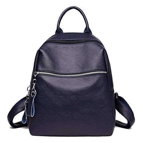 Escuela Niñas Época Gran Viaje Mochila De Mochilas Dark Black Mujeres Capacidad Cuero Blue Vintage Para Bolsos RwzaHISqI1