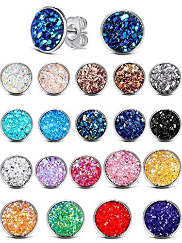 20 Pairs Round Stud Earrings Stainless Steel Druzy for sale  Delivered anywhere in USA