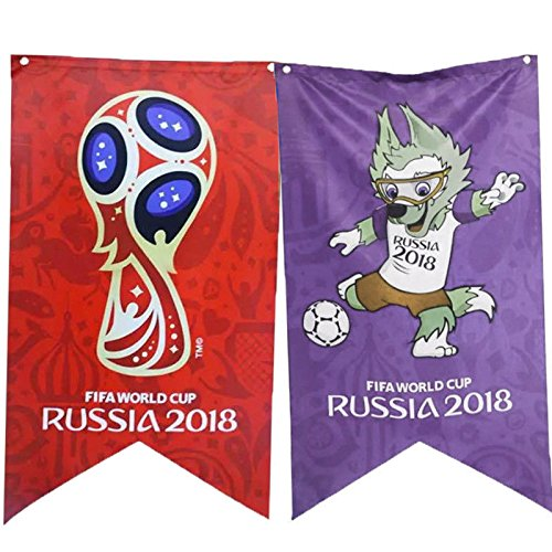Toyofmine 2018 Russia World Cup Football Bunting Of Emblem Mascot Flag Party Decors (Mascot Banner)