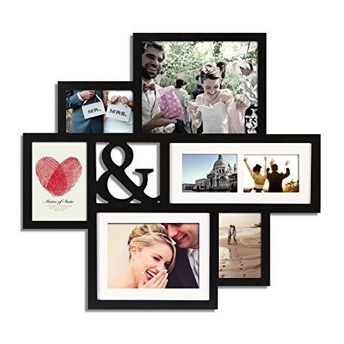 Adeco Wood Wall Hanging Picture Photo Frame Collage with Ampersand (&) Cut Out and Mat with 7 Opening, Black