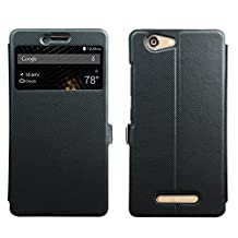 "BLU Vivo XL Case [View Window] [Full Range Protection], Popsky Linen Texture Slim Leather Multi-angle Stand Folio Case Cover for BLU Vivo XL Smartphone -5.5"" 4G LTE Phone (Black)"