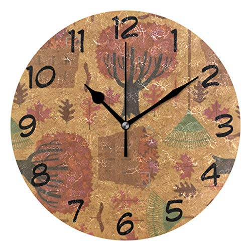LORVIES Autumn Halloween Wallpaper Wall Clock Silent Non Ticking Acrylic Decorative 10 Inch Round Clock for Home Office School]()