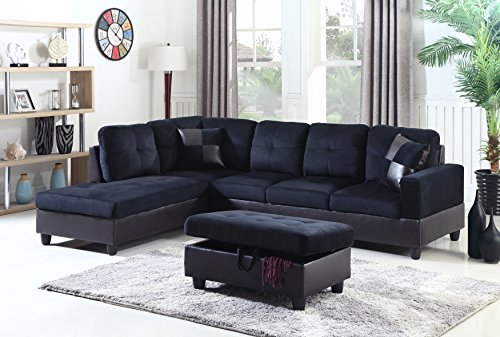 Leather Faux Microfiber (Beverly Fine Furniture F112A Andes Microfiber with Faux Leather Sofa Set with Ottoman, Midnight Black)