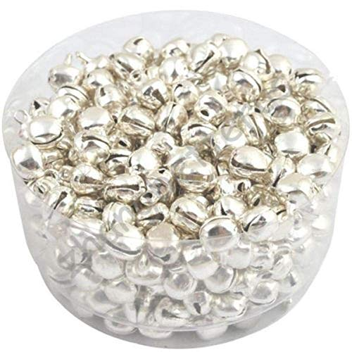 Yongrow 200 PCS Small Christmas Bells Pendants Charms Jingle Iron Colorful Loose Beads (Silver)