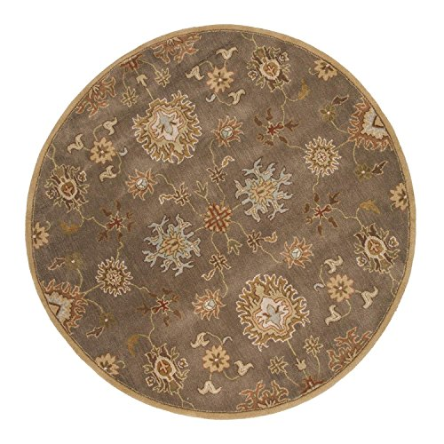 Diva At Home 8' Burnt Sienna and Sandalwood Brown Transitional Nantes Round Hand-Tufted Wool Area Throw Rug (Sienna Wool Burnt Rug)