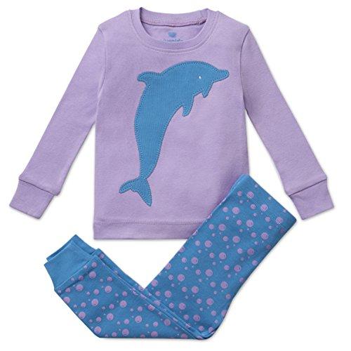 Bluenido Girls Pajamas Dolphin and Fox 2 Piece Pajama 100% Super Soft Cotton (12m-8y),7 Years,Lavender