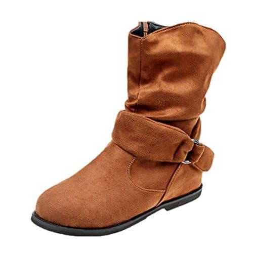 Mujer Botines Planos de Estilo Vintage Zapatos Suaves Botines de Pies Botas Medianas: Amazon.es: Zapatos y complementos