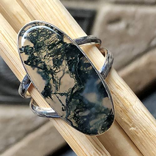 Natural Green Moss Agate 925 Solid Sterling Silver Solitaire Ring sz 8 ()