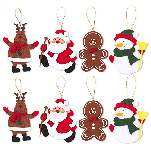 Juvale Pack of 8 Felt Ornament Set - Includes Reindeer, Santa Claus, Gingerbread Man, Snowman - Cute Christmas Ornaments - Ready to Hang on Christmas Tree (Ornaments Felt)