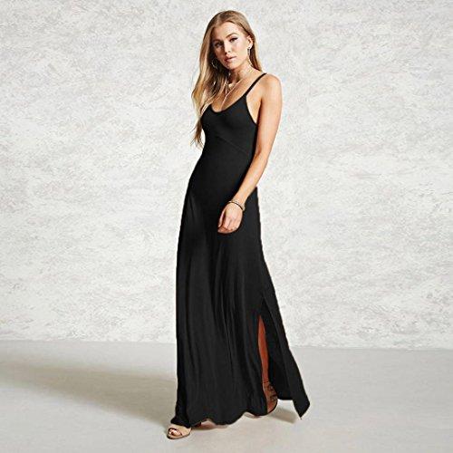 solide femme de V en manches GreatestPAK maxi Noir robe sans Les col robe femmes de occasionnels soire PqHz5dw