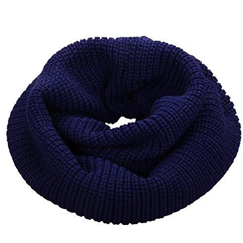 NEOSAN Womens Thick Ribbed Knit Winter Infinity Circle Loop Scarf Navy Blue