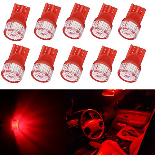 Alla Lighting 10pcs 2W High Power Super Bright 194 168 2825 175 W5W LED Bulbs - Pure Red Miniature T10 Wedge LED SMD Lights