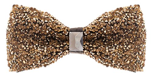 Gold Rhinestone Bowtie for Men - Pre Tied Sequin Bowties with Adjustable Length