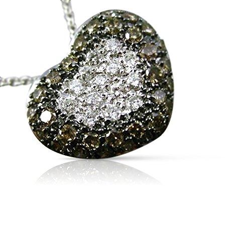 Milano Jewelers 1.07CT WHITE & CHOCOLATE FANCY DIAMOND 14K GOLD HEART LOVE PENDANT #14426 ()