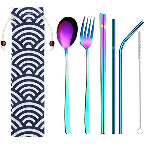 6 Pcs Color Flatware, Puyujin Reusable Cutlery Set, Travel Tableware,Personalised custom cutlery, FDA Approved ()