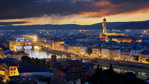 Vecchio Florence Ponte - Art Silk Fabric Cloth Rolled Wall Poster Print - Ponte vecchio Florence Italy buildings river Lights city - (Size:23x13 Inches)