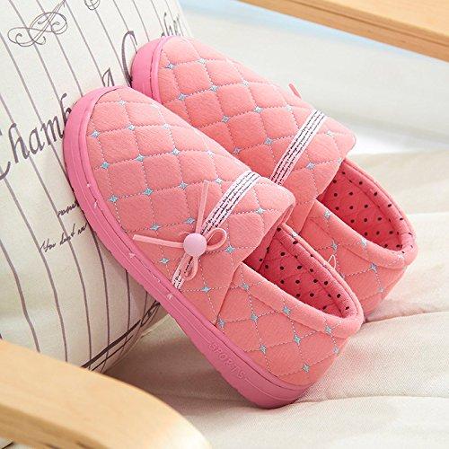Y-Hui zapatos primavera otoño e invierno paquete delgado con fondo blando zapatillas de algodón, Verano antideslizante código grandes interiores domésticos Pink