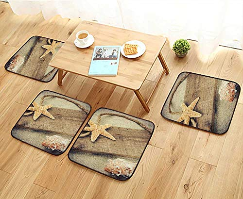 - Jiahonghome Simple Modern Chair Cushions Old Wooden Board with copyspace and Seashells Reusable Water wash W27.5 x L27.5/4PCS Set
