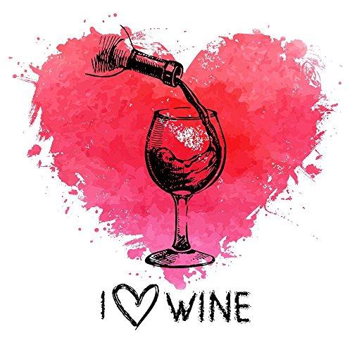 I Love Wine Watercolor Heart Canvas Art Print