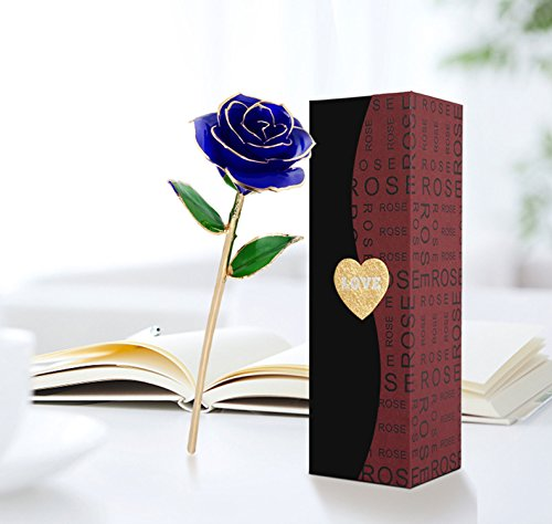 24K Gold Rose Flower, Metal Dipped Roses Artificial Flowers for Valentine Day, Anniversary, Birthday for Lover Mother Girlfriend, 24K Golden Plated Rose in Present Box - Gold Metal Rose