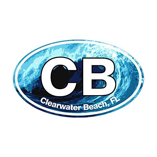 CafePress - CB Clearwater Beach Wave Sticker (Oval) - Oval Bumper Sticker, Euro Oval Car - Clearwater You Fit Fl