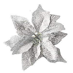 rescozy 6Pcs 9.8 Inch Glitter Artificial Christmas Flowers Christmas Tree Wreaths Wedding Ornaments Silver 95