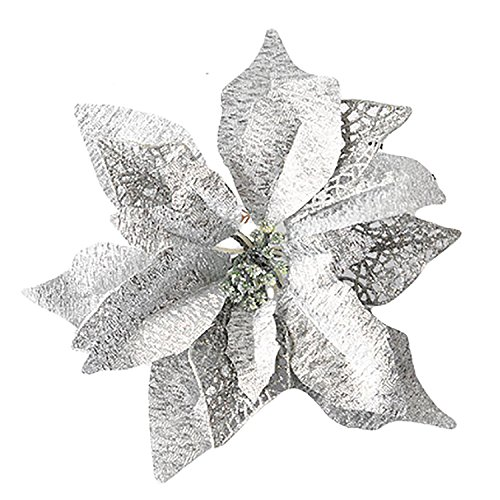rescozy 6Pcs 9.8 Inch Glitter Artificial Christmas Flowers Christmas Tree Wreaths Wedding Ornaments Silver
