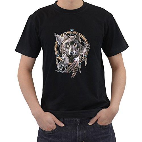 [Wolves Dreamcatcher American Indian Symbol T-Shirt Short Sleeve By Saink Black Size S] (Dances With Wolves Costumes Designer)