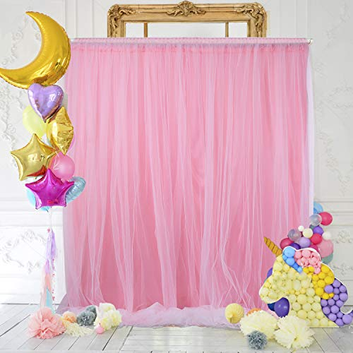 Light Pink Tulle Backdrop Curtain 5ft×7ft for Wedding Baby Shower Decorations Photography Background Party Decorations Supplies ()