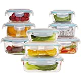 18-piece Glass Food Storage Container Set with Airtight Locking Lids Glass, Meal Prep Containers BPA-Free, Airtight, Microwave, Oven, Freezer, Dishwasher Safe