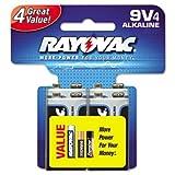 Rayovac Alkaline Battery 9 V Pack Of 4