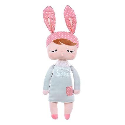 JGOO Peluche Relleno felpa Angela Niña Conejito Conejo durmiendo muñecas de bebé vistiendo falda de encaje