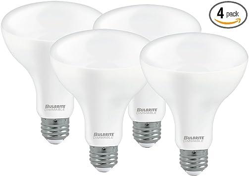 Bulbrite Led Br30 Dimmable Medium Screw Base E26 Light Bulb 65 Watt Equivalent 4000k Frost 4 Pack Amazon Com
