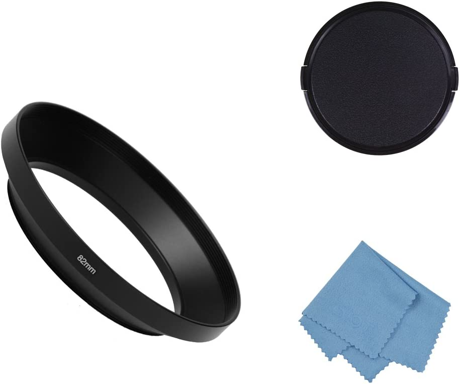 SIOTI Camera Wide Angle Metal Lens Hood with Cleaning Cloth and Lens Cap Compatible with Leica/Fuji/Nikon/Canon/Samsung Standard Thread Lens(82mm)
