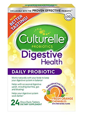 Culturelle Digestive Health Daily Formula Chewables, One Per Day Dietary Supplement, Contains 100% Naturally Sourced Lactobacillus GG -The Most Clinically Studied Probiotic†, 24 ()